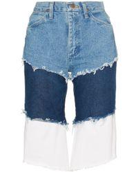 Natasha Zinko Wrangler High Waisted Layered Denim Shorts - Blue