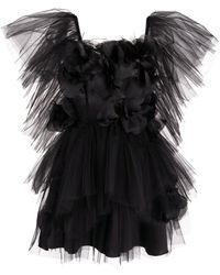 Loulou Tulle Mini Dress - Black