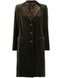 Etro Бархатное Однобортное Пальто - Многоцветный