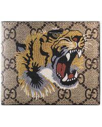 Gucci - Tiger Print GG Supreme Wallet - Lyst