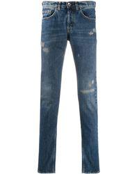 Eleventy Distressed Slim-fit Jeans - Blue