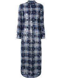 Thom Browne Tartan Sequinned Shirtdress - Blue