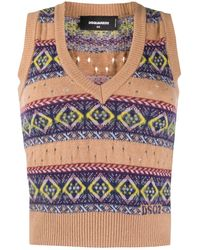 DSquared² V-neck Print Jumper Vest - Multicolour