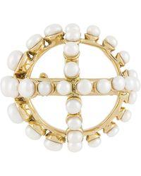 Patou Circle Cross-appliqué Brooch - Metallic