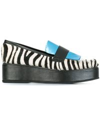 House of Holland - Panelled Flatform Zebra Print Leather and Calf Hair Loafers - Lyst