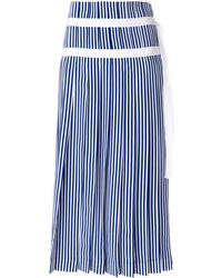 JOSEPH - Striped Pleated Skirt With Double Belt Detail - Lyst