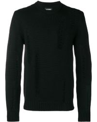 Les Hommes Distressed Detail Sweater - ブラック