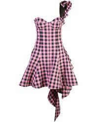 Natasha Zinko Checked Flared Dress - Pink