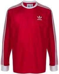 adidas Langarmshirt mit Streifen - Rot