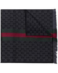 Gucci GG Web Stripe Scarf - Black