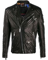 Philipp Plein Embellished Leather Biker Jacket - Black