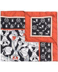 Philipp Plein Bugs Bunny モノグラム スカーフ - ブラック