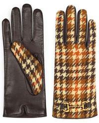 Gucci Horsebit-Handschuhe mit Hahnentrittmuster - Mehrfarbig