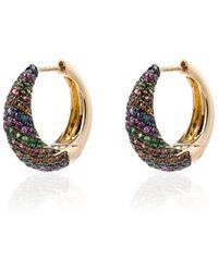 Yvonne Léon - 18kt Yellow Gold Multicoloured Sapphire Hoop Earrings - Lyst