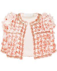 Loulou Cropped Bouclé Tweed Jacket - Orange