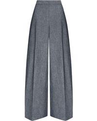 Oscar de la Renta Wide-leg Chambray Trousers - Grey
