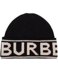 Burberry Кашемировая Шапка Бини С Логотипом Вязки Интарсия - Черный