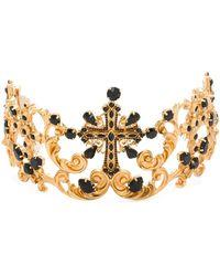 Dolce & Gabbana Tiara con detalles de cristal - Metálico