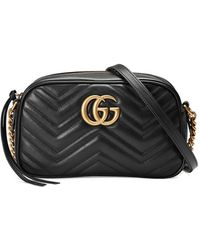 Gucci Gg Marmont Matelassã© Shoulder Bag - Black