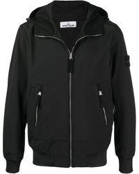 Stone Island Куртка С Капюшоном И Нашивкой-логотипом - Черный