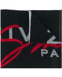 Givenchy ロゴ インターシャ スカーフ - ブラック