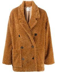 Forte Forte Двубортное Пальто Из Овчины - Коричневый