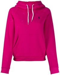 Polo Ralph Lauren Embroidered logo relaxed-fit hoodie - Pink