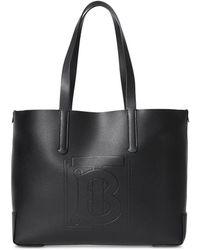 Burberry Shopper Medium aus schwarzem Kalbsleder