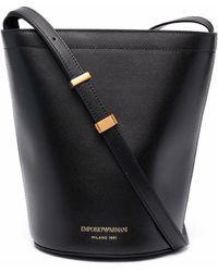 Emporio Armani Leather Bucket Bag - Black