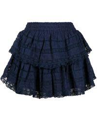 LoveShackFancy Ruffled Mini Skirt - Blue