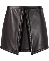 Louis Vuitton Pre-owned Box Design Leather Mini Skirt - Brown