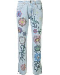 Filles A Papa Floral Embellished Jeans - Blue