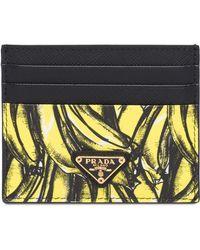 cb4802b1d099 Prada Banana-print Saffiano-leather Wallet in Yellow - Lyst