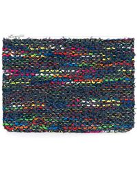 Coohem Knit Tweed Pouch - Blue