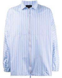 Emporio Armani Полосатая Рубашка На Молнии - Синий