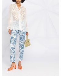 Etro Рубашка С Цветочной Вышивкой И Оборками - Белый