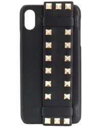 Valentino Garavani Iphone X Sw2p0s62bol 0no Calf Leather - Black