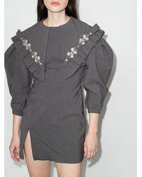 ShuShu/Tong Crystal-embellished Puff-sleeves Dress - Grey