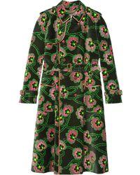 Gucci Ken Scott Floral Print Trench Coat - Black