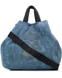Philipp Plein Embroidered Skull Hobo Bag - Blue