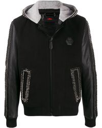 Philipp Plein Декорированная Куртка С Капюшоном - Черный