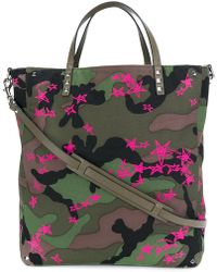 Valentino Star Print Camouflage Shopping Bag - Green