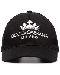 Dolce & Gabbana Black Logo Print Baseball Cap