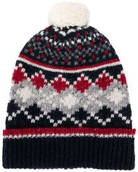 Thom Browne Fair Isle Knitted Hat - Blue