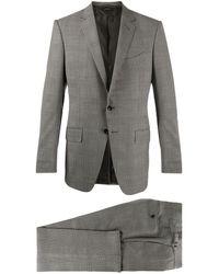 Tom Ford チェック ツーピース スーツ - グレー