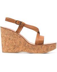K. Jacques Wedge Heel Sandals - Brown