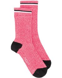 Marni Logo ribbed ankle socks - Rot