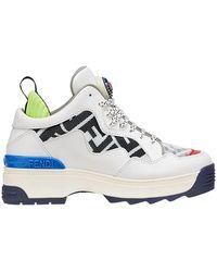 Fendi Sneakers over stringata in pelle e tessuto con maxi stampe ff - Bianco