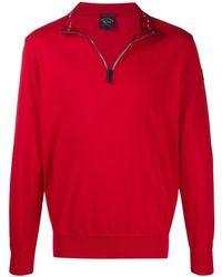 Paul & Shark Sweater Met Rits - Rood