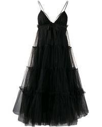 BROGNANO チュール ティアードドレス - ブラック